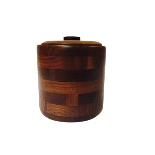 Mid Century Modern Ice Bucket Walnut Retro Barware