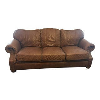 Ethan Allen Meade Collection Leather Sofa