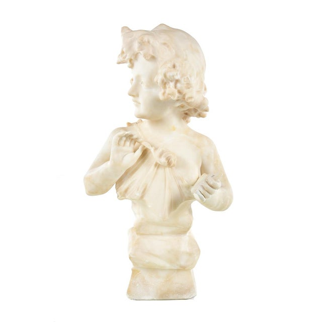 19th Century Antique Alabaster Sculpture of a Young Painter For Sale - Image 5 of 9