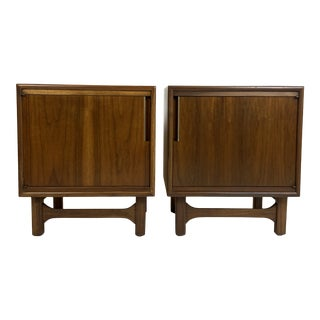 Boxy Walnut Mid-Century Nightstands - a Pair For Sale