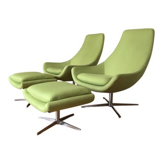 Mid-Century Danish Modern Swivel Lounge Chairs With Ottomans- 4 Pieces For Sale