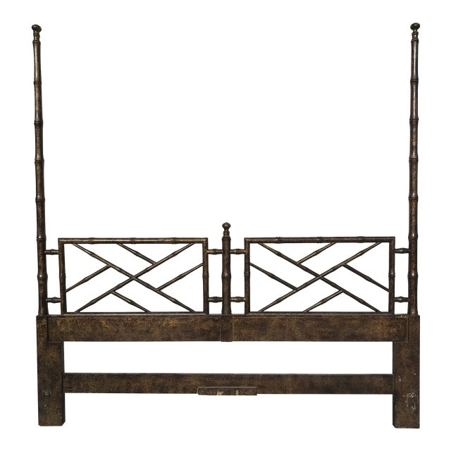 Chinese Chippendale Henredon Artefacts Collection Faux Bamboo and Tortoise Shell King Size Headboard For Sale