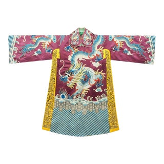 Antique Chinese Silk Hand-Embroidered Emporor's Dragon Jifu Robe in Display Case For Sale