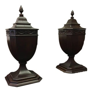 Late 1700s Original Mahogany Cutlery Urns- Set of 2 For Sale