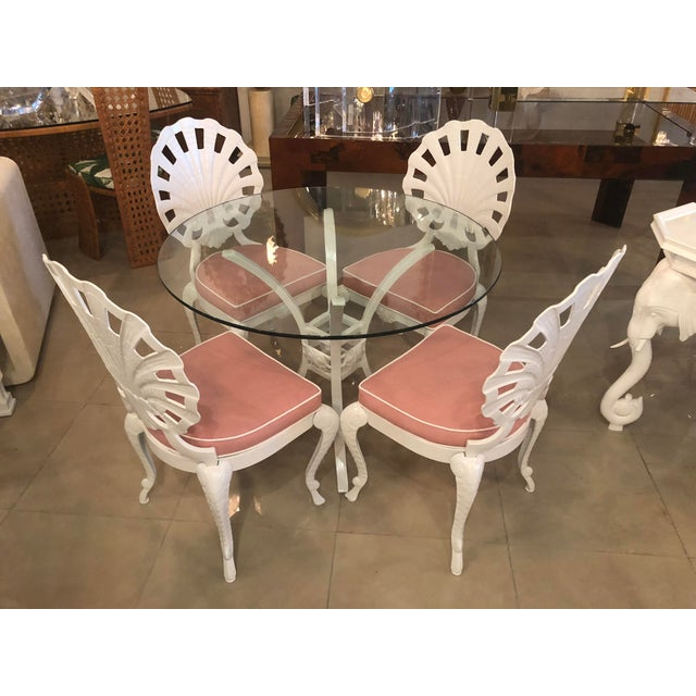 Vintage Brown Jordan Grotto 5 piece patio set which includes 4 dining chairs, table base, and round glass. The glass is...