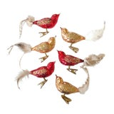 Image of Set of 6 Blown Glass Bird Ornaments For Sale