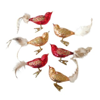 Set of 6 Blown Glass Bird Ornaments For Sale