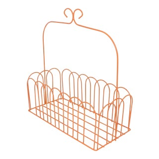 Burnt Orange Wire Basket For Sale