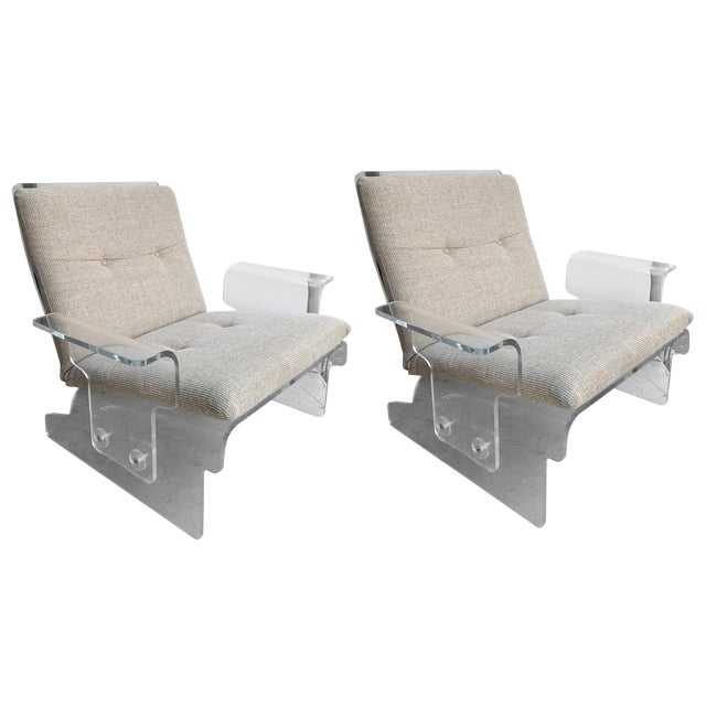 Pair of Lucite Armchairs by Baumann, Germany, 1970s For Sale