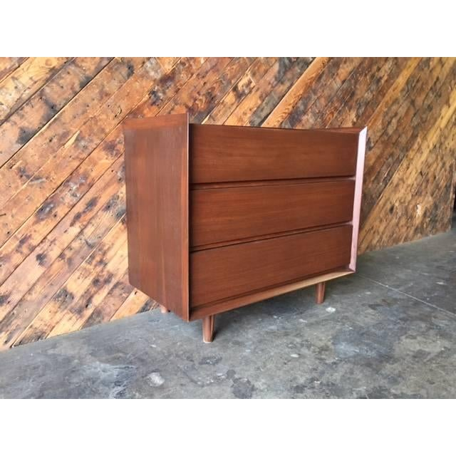 Architectural Modern Refinished Walnut Dresser by Morris For Sale - Image 4 of 7