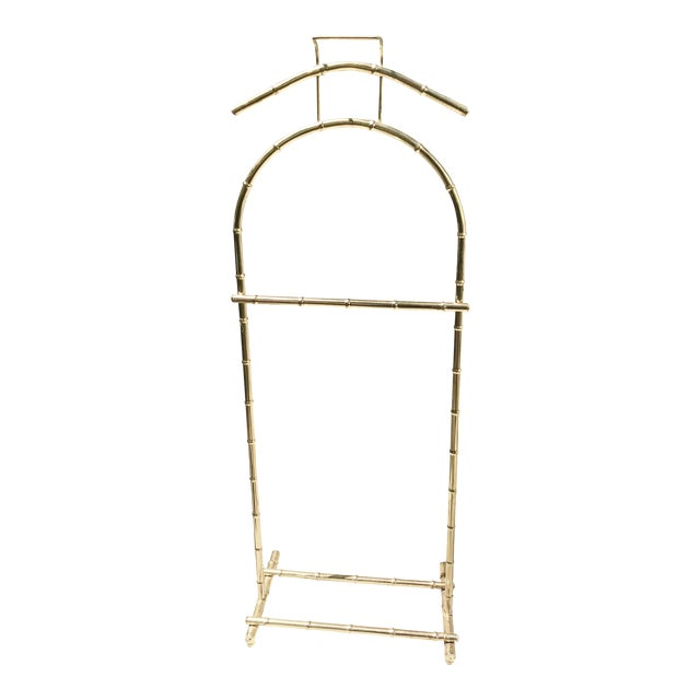 Regency Style Brass Bamboo Standing Valet For Sale