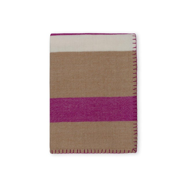100% Baby Alpaca Block Stripe Throw, Camel/Raspberry For Sale - Image 4 of 4