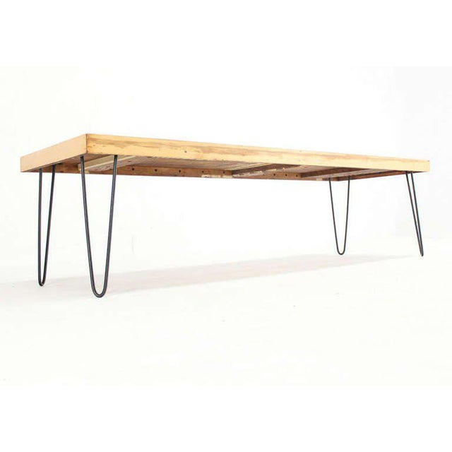 Birch Large Rectangular Vintage Solid Birch-Top with Hairpin Leg Coffee Table For Sale - Image 7 of 7