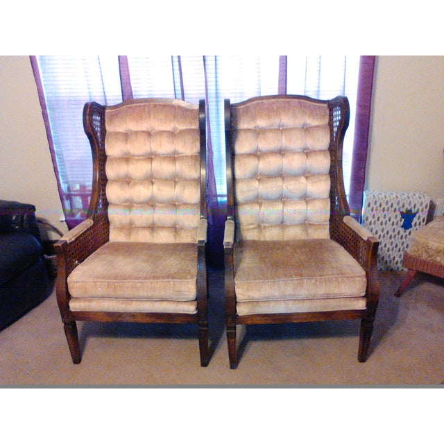 Lewittes High Wingback Chairs, Cane Sides - Pair - Image 2 of 11