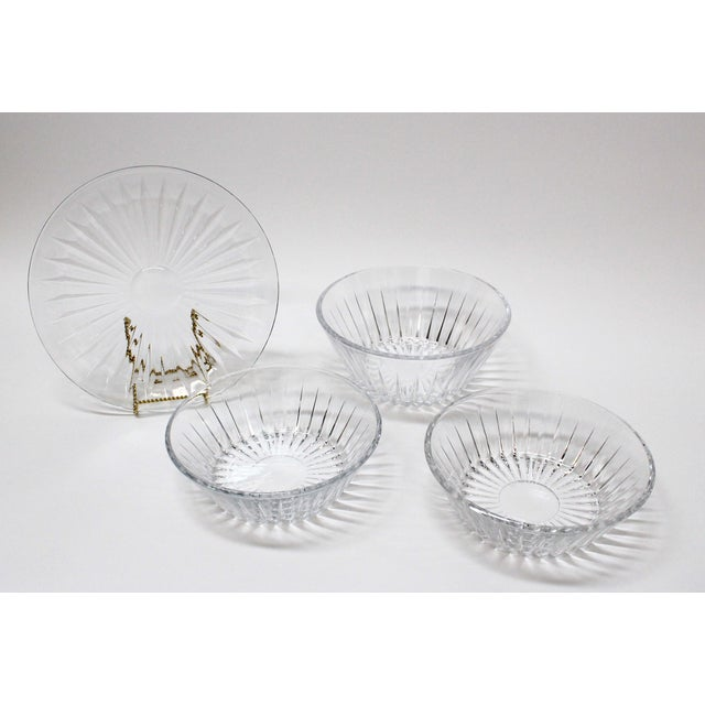 Traditional Val St Lambert Crystal Bowl & Plate Set - 4 For Sale - Image 3 of 9