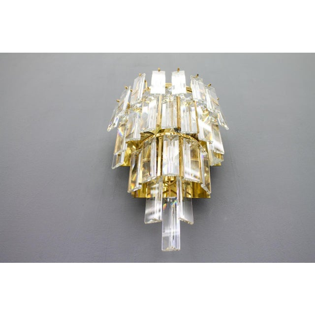 Gold Pair of Crystal Glass Wall Sconces by Palwa, Germany, 1960s For Sale - Image 8 of 9