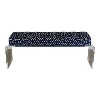 Waterfall Lucite Bench, Blue Chenille Bench With Geometric Pattern, Waterfall Bench For Sale