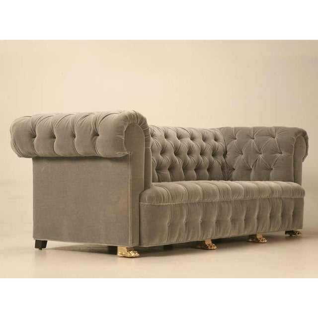 Chesterfield in Mohair with Solid Bronze Paw Feet For Sale - Image 4 of 10