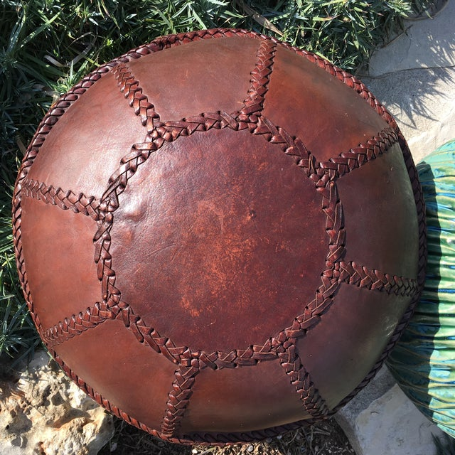 Vintage Bohemian Hand Stitched Leather Floor Pillow - Image 2 of 11