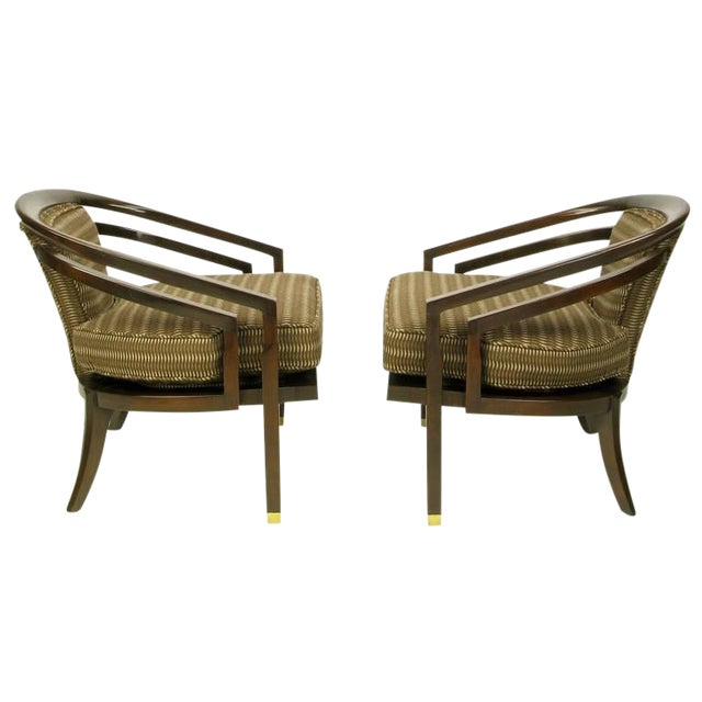 Pair of Elegant 1960s Club Chairs by Century For Sale