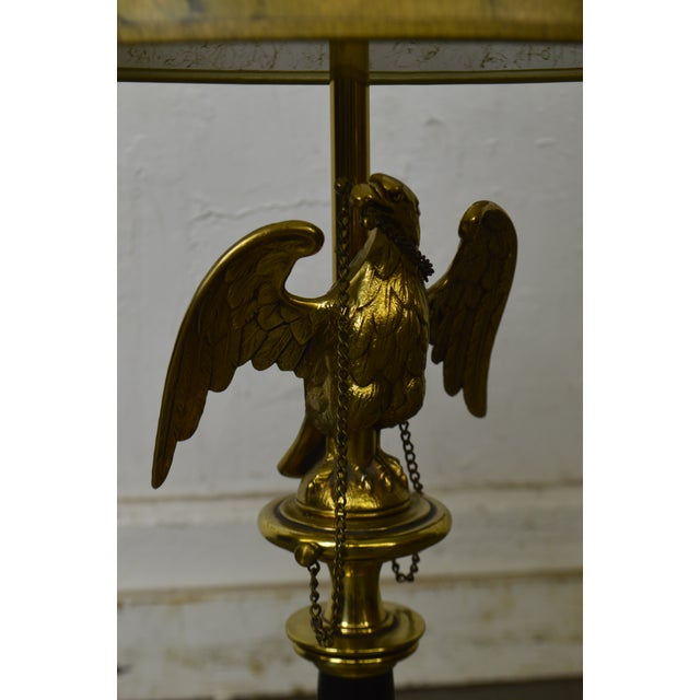 *STORE ITEM #: 18329-fwmr Stiffel Vintage Federal Style Brass American Eagle Table Lamp AGE / ORIGIN: Approx. 40 years,...