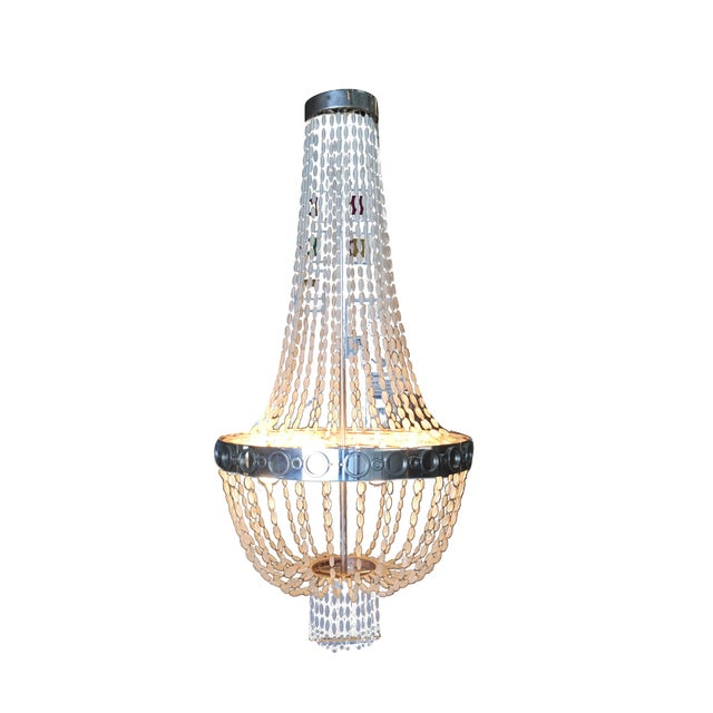 Silver Troy by Zia Priven Beaded Crystal Basket Form Chandelier For Sale - Image 8 of 8