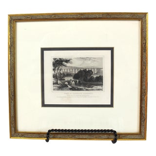 "19th Century ""Pont Y Casullte Aqueduct, Wales"" Steel Etching by Thomas Dugdale For Sale"