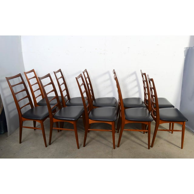 "Danish Modern 1960s Vintage Niels Koefoed for Koefoed Hornslet Teak ""Lis"" Dining Chairs- Set of 10 For Sale - Image 3 of 8"