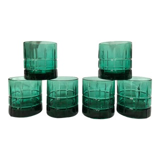 1960s Hollywood Regency Anchor Hocking Emerald Green Lowball Glasses - Set of 6 For Sale