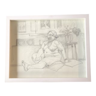 Original Contemporary Charcoal Female Nude in Interior Drawing by Susan Kenneth For Sale