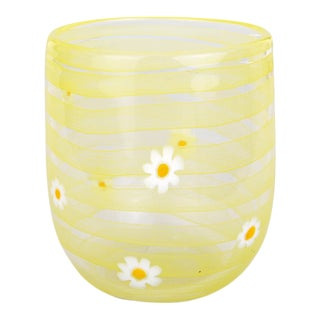 LagunaB Yellow Daisy Handmade Murano Glass Tumbler For Sale