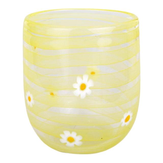LagunaB Yellow Daisy Handmade Murano Glass Tumbler For Sale