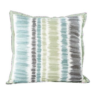Square Blue & Green Stripe Pillow For Sale