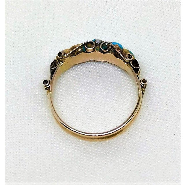 Mid 19th Century Antique 15k Gold and Turquoise Ring For Sale - Image 5 of 7