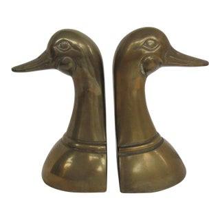 Vintage Leonard Brass Duck Head Bookends-2 Pieces