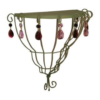 Half Moon Decorative Shelf with Crystal Accents