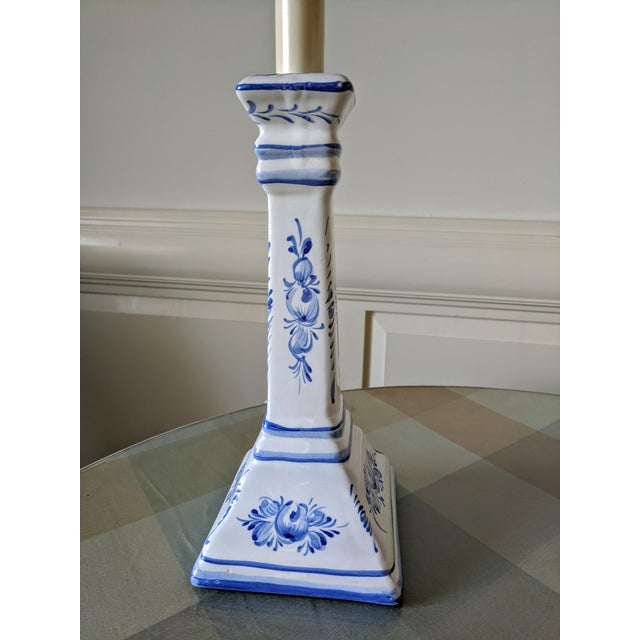 A Pair- Portugal Ceramic Blue and White Buffet Table Lamps For Sale - Image 4 of 13