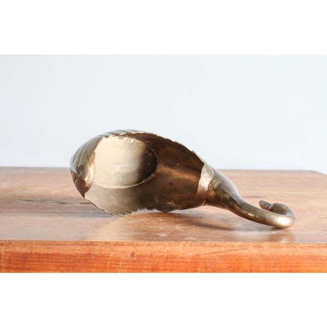1960s 1960's Vintage Art Deco Brass Scalloped Swan Planter For Sale - Image 5 of 11