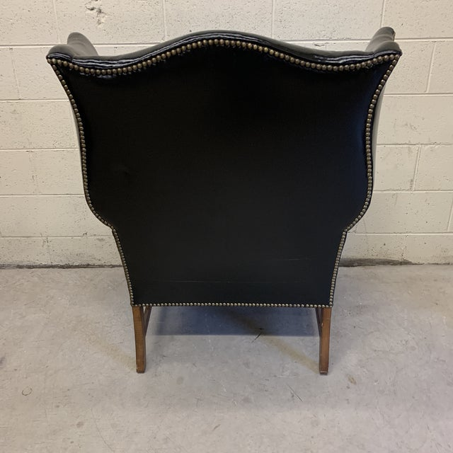 Black Leather Wing Chair For Sale - Image 4 of 13