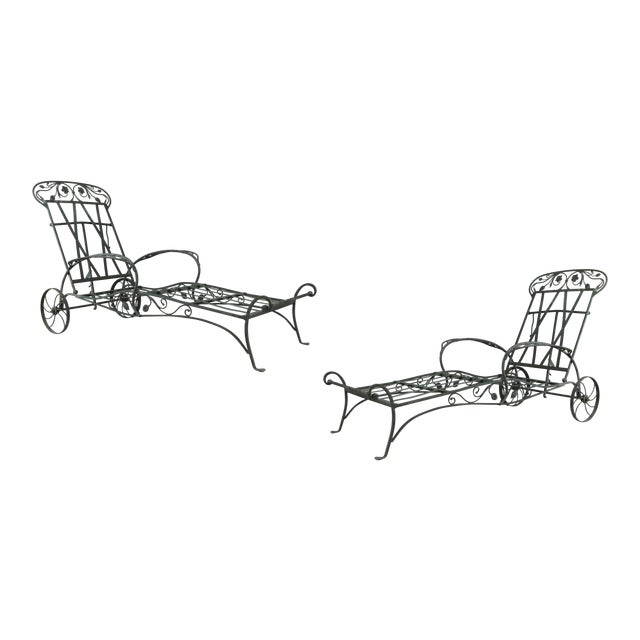 Wrought Iron Chaise Lounges by Salterini, Circa 1950 - a Pair For Sale