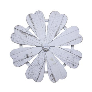 Rustic White Barn Wood Flower Wall Art For Sale