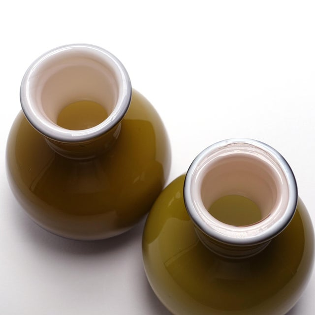 Blown Glass 1960s Vintage Ekenas Glasbruk Olive Green Cased Glass Bud Vases — a Pair For Sale - Image 7 of 9
