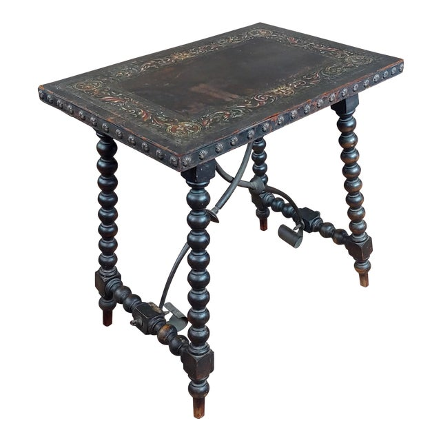 18th Century Spanish Revival Leather Top Trestle Occasional Table For Sale