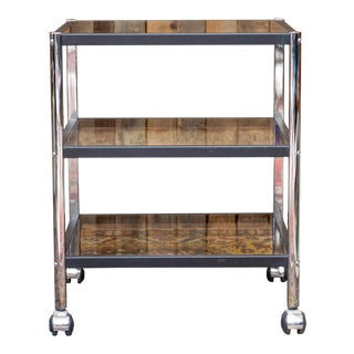 1970's Erard France Chrome and Smoke Glass Tiered Rolling Cart For Sale