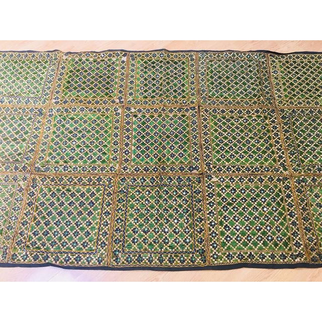 Black Vintage India Banjara Embroidered Mirrored Throw Blanket For Sale - Image 8 of 11