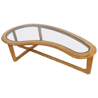 1970s Mid-Century Modern Lane Kidney Shaped Boomerang Walnut and Glass Coffee Table For Sale