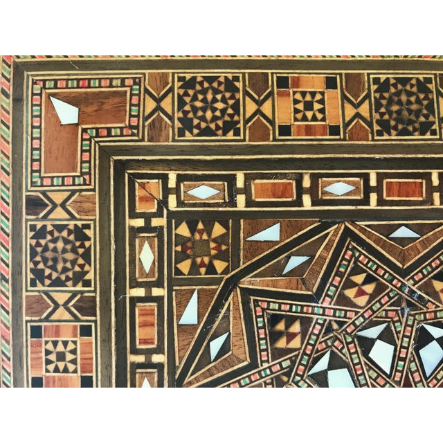 Turkish Inlaid Marquetry Mosaic Box With Key For Sale - Image 12 of 13