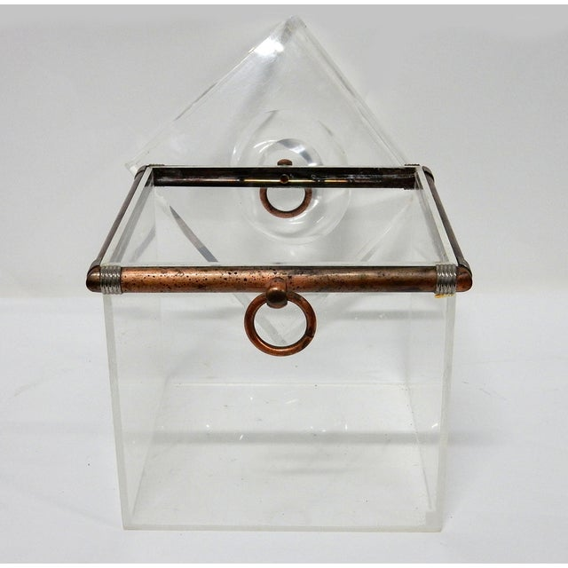 Vintage Cube Brass & Lucite Ice Bucket - Image 8 of 8
