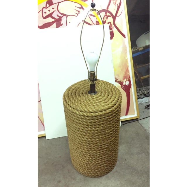 Americana Oversized Rope Base Table Lamp For Sale - Image 3 of 6