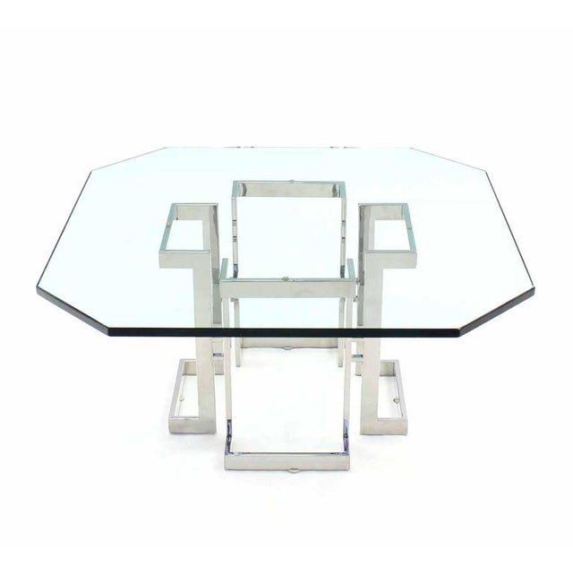 Square Chrome Base Glass Top Coffee Table For Sale In New York - Image 6 of 6